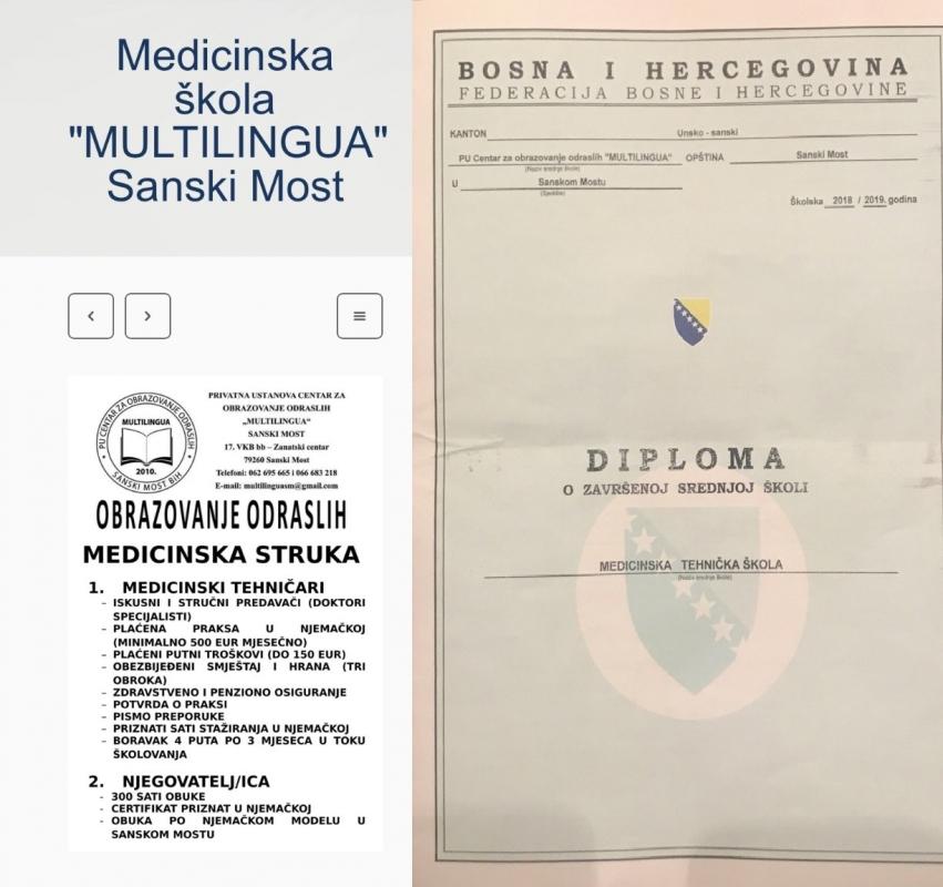 ŠKOLA IZ SANSKOG MOSTA Diploma medicinske škole za 17 dana